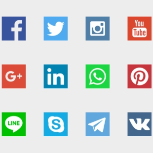 Vector Sketch Black And White - Social Media Icons Outline Vector